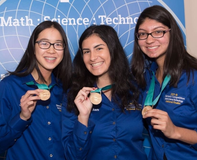 Half Hollow Hills students, from left, Jiachen Lee, Jillian Parker and Arooba Ahmed, after winning the 2017 Siemens Competition.   Photo Courtesy of Half Hollow Hills School District
