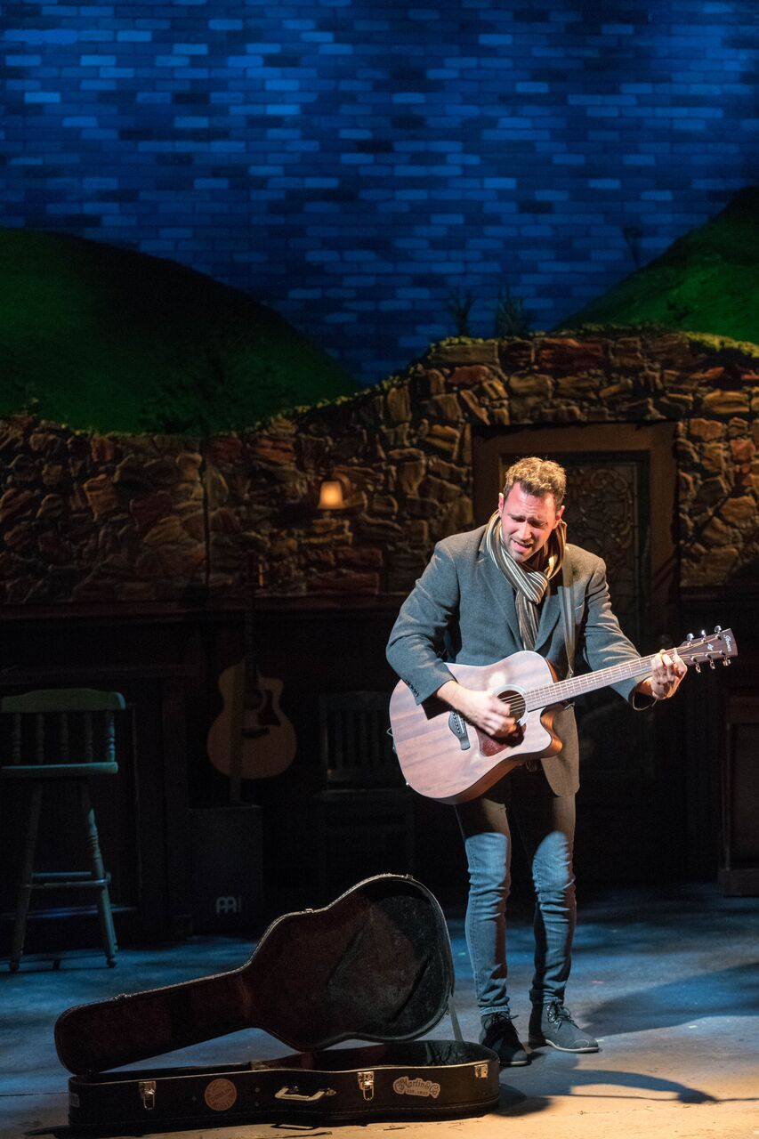 """Barry DeBois (Guy) opens the John W Engeman Theater's production of """"Once"""" with the musical number """"Leave.""""   Photos by Michael DeCristofaro"""