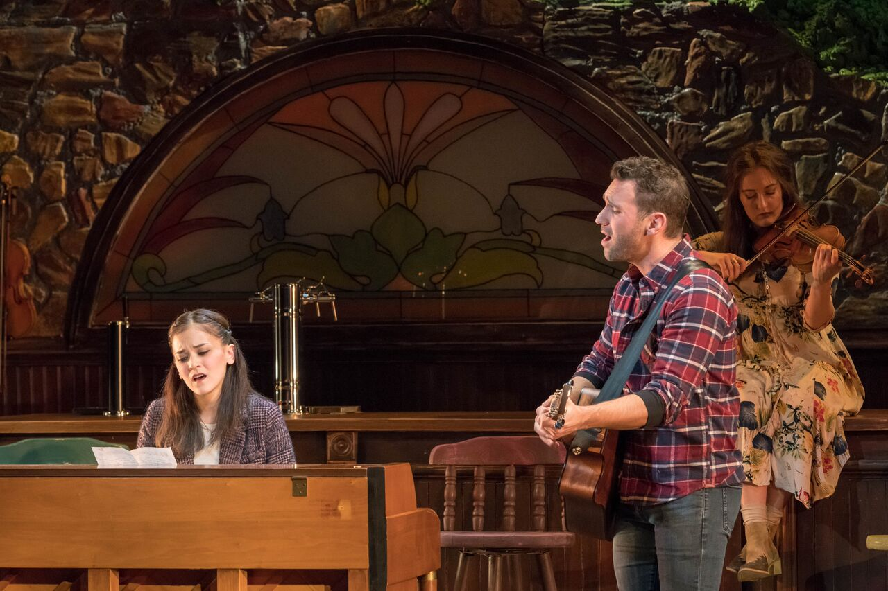 """Andrea Goss (Girl) and Barry DeBois (Guy) perform """"Falling Slowly""""during the John W Engeman Theater's production of """"Once.""""   Photos by Michael DeCristofaro"""