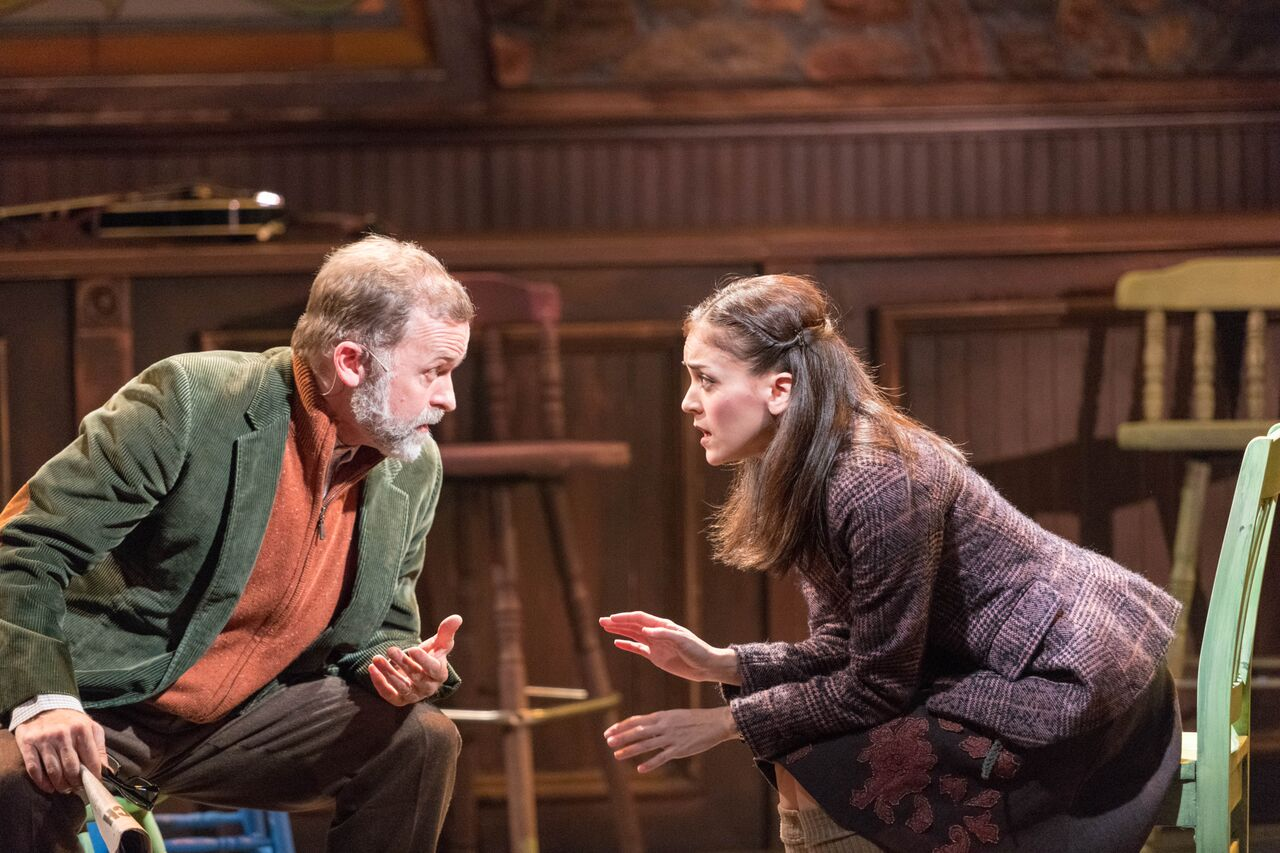 """Bristol Pomeroy (Da) and Andrea Goss (Girl) share their concerns about Guy during the John W Engeman Theater's production of """"Once.""""   Photos by Michael DeCristofaro"""