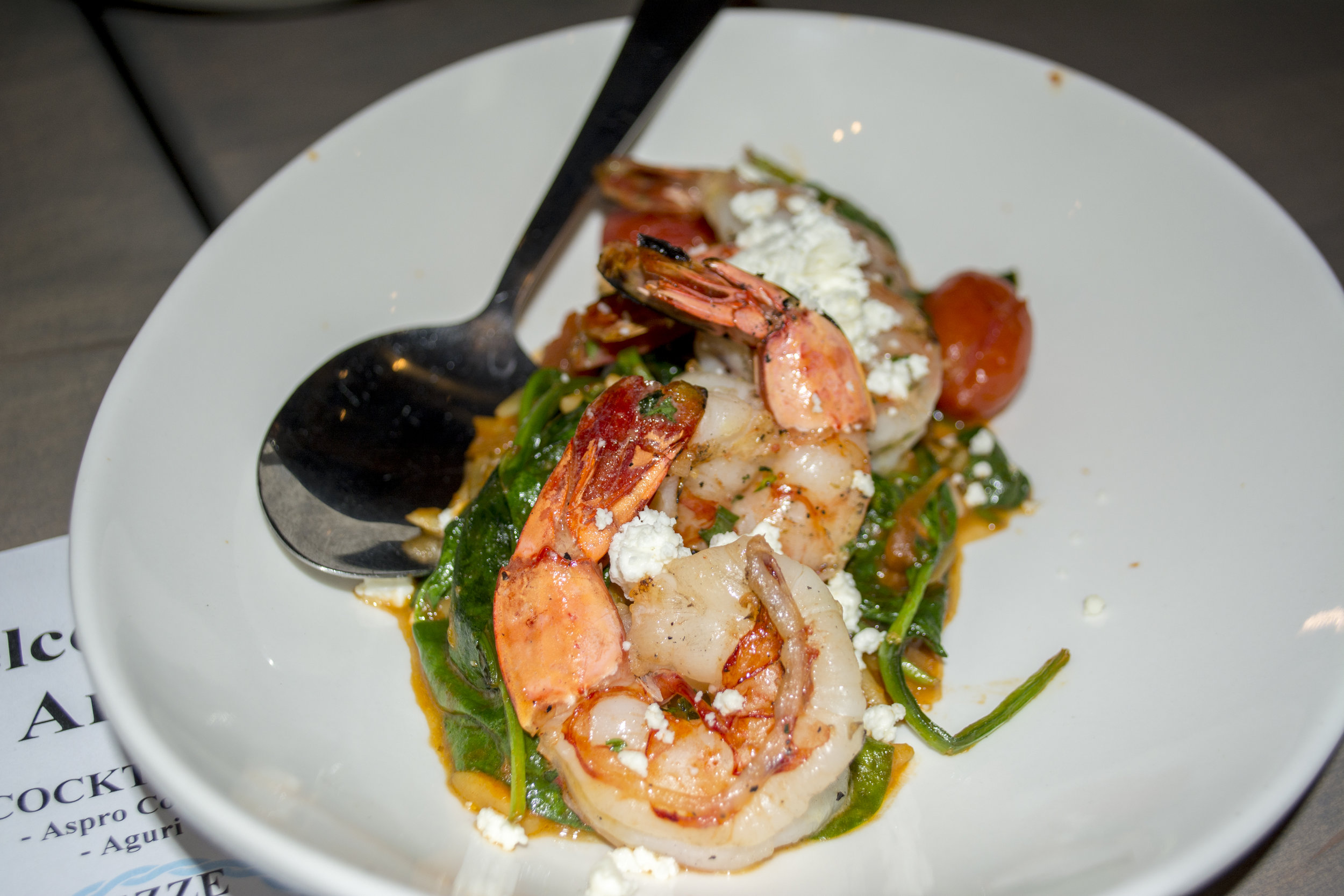 The Tri-Color Orzo ($14) features grilled shrimp served with tomato, spinach, feta and a garlic and oil sauce.   Long Islander News photos/Connor Beach