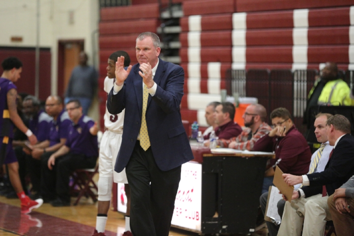Walt Whitman varsity basketball coach Thomas Fitzpatrick is pictured Feb. 6 at the final home game of his 19-year career.   Photo/South Huntington School District