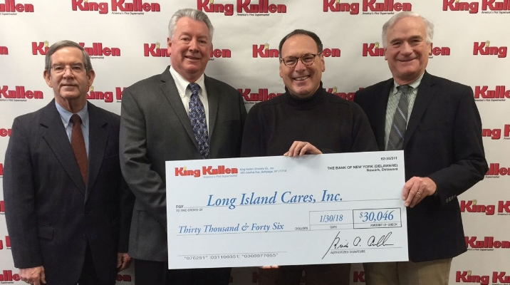 King Kullen and its customers recently raised over $30,000 for the Long Island Cares/Harry Chapin Food Bank; on hand for the check presentation were, from left: King Kullen Co-President Brian Cullen; King Kullen Senior VP and Chief Merchandising Officer Joseph Brown, who also serves as a Long Island Cares board member; Long Island Cares Executive Director Paule Pachter; and King Kullen Co-President J. Donald Kennedy.