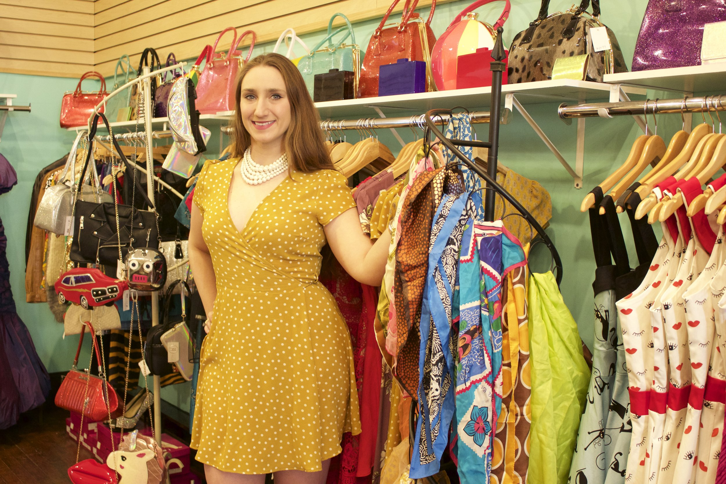 Dominique Maciejka, co-owner of Paper Doll Vintage Boutique and Paper Doll Curiosity Shoppe, said the new Huntington location will offer a mixture of women's true vintage clothing and alternative style gifts and novelties.   Long Islander News photos/Janee Law