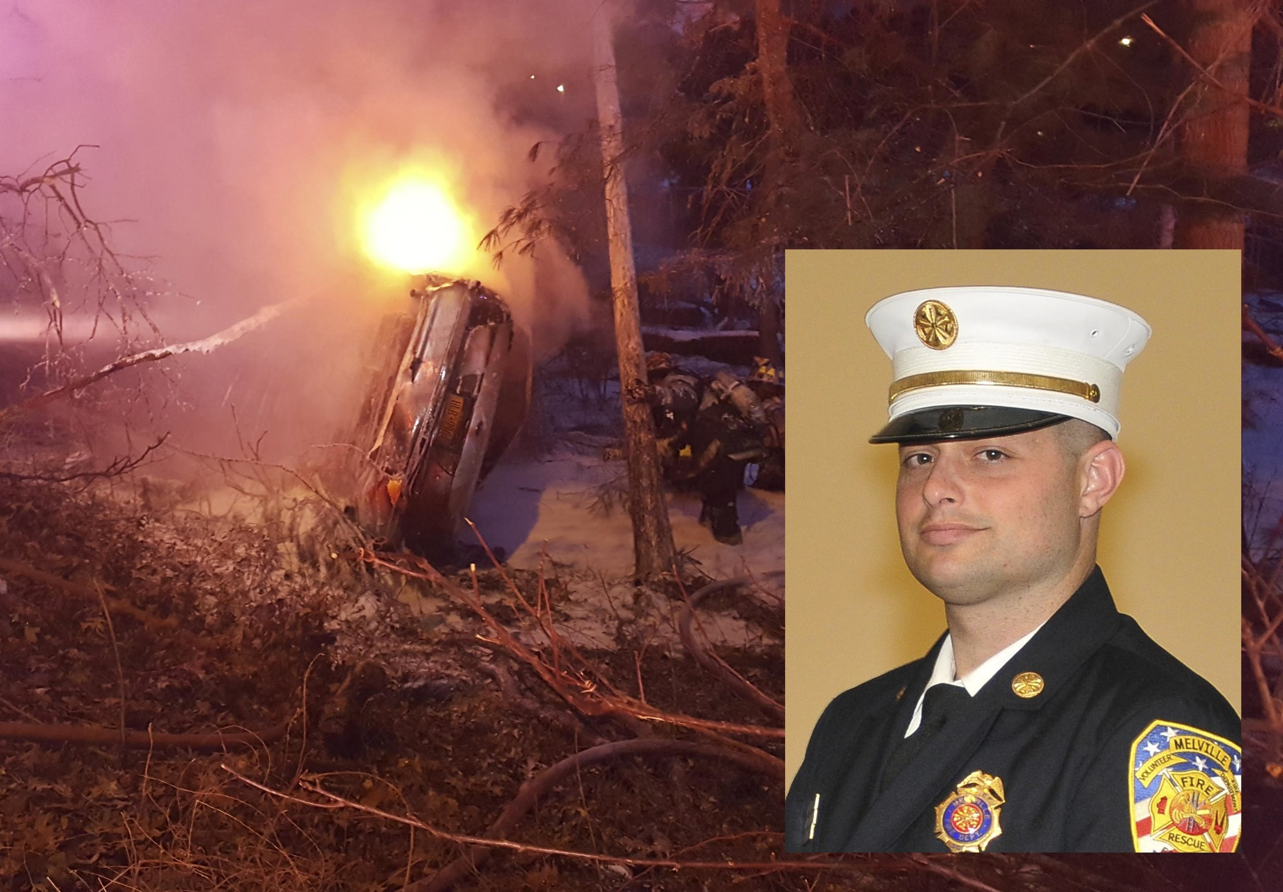 Melville Fire Department Third Assistant Chief Jason Bernfeld, inset, freed an injured driver from this fiery crash, above, along the Northern State in Melville on Monday.   Photos courtesy of Steve Silverman