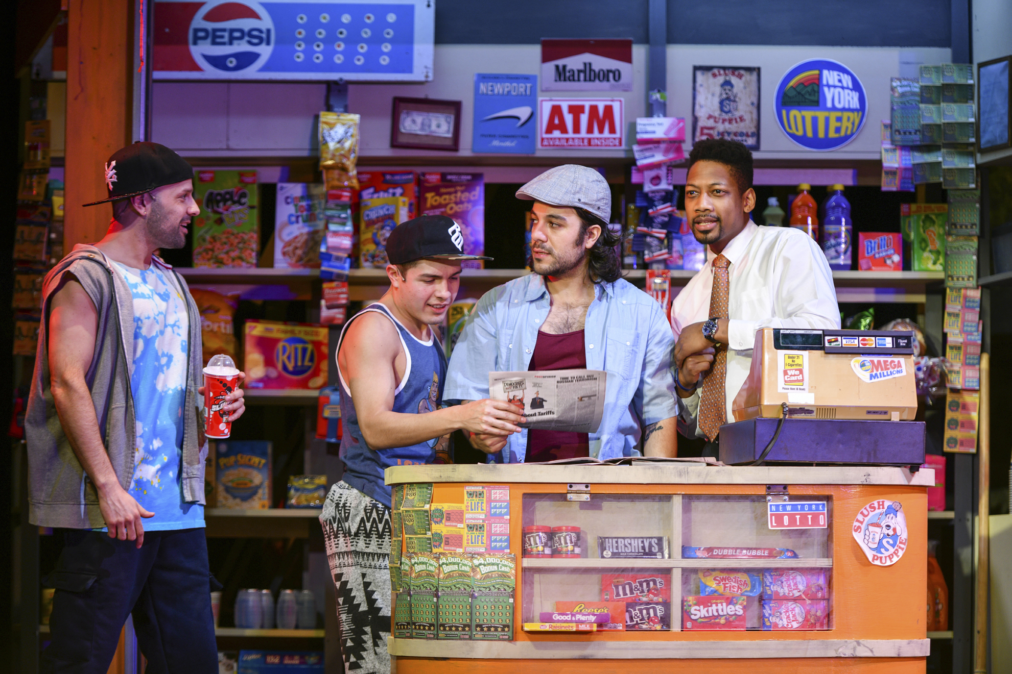 Nick Martinez (Sonny), Spiro Marcos (Usnavi) and Josh Marin (Benny), along with Danny Lopez (Graffiti Pete), not pictured, keep audiences entertained with their rhythmic collaboration and comedic delivery.   Photos by Michael DeCristofaro