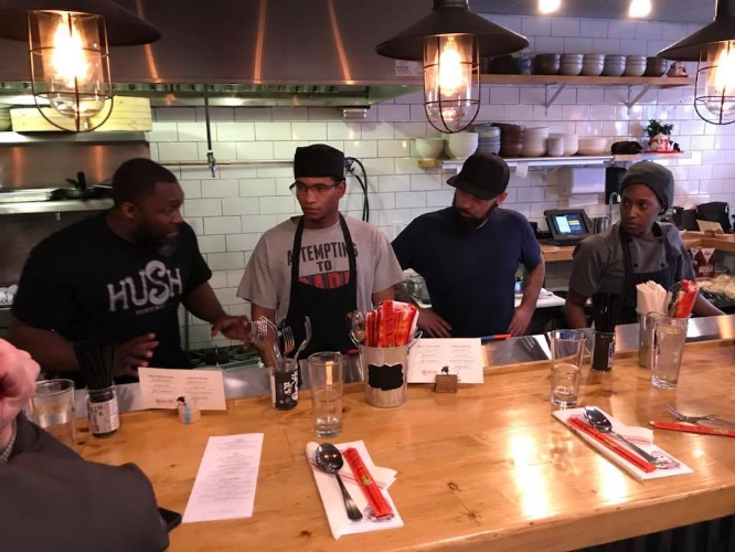 Chef Marc Anthony Bynum training staff in the art of ramen at his newly opened noodlery MB Ramen in Huntington village.
