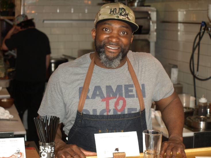 Chef Marc Anthony Bynum, above, brings his passion for ramen to Huntington and serves it by the bowlful amid the urban chic décor at MB Ramen.   (Long Islander News photos/Connor Beach)