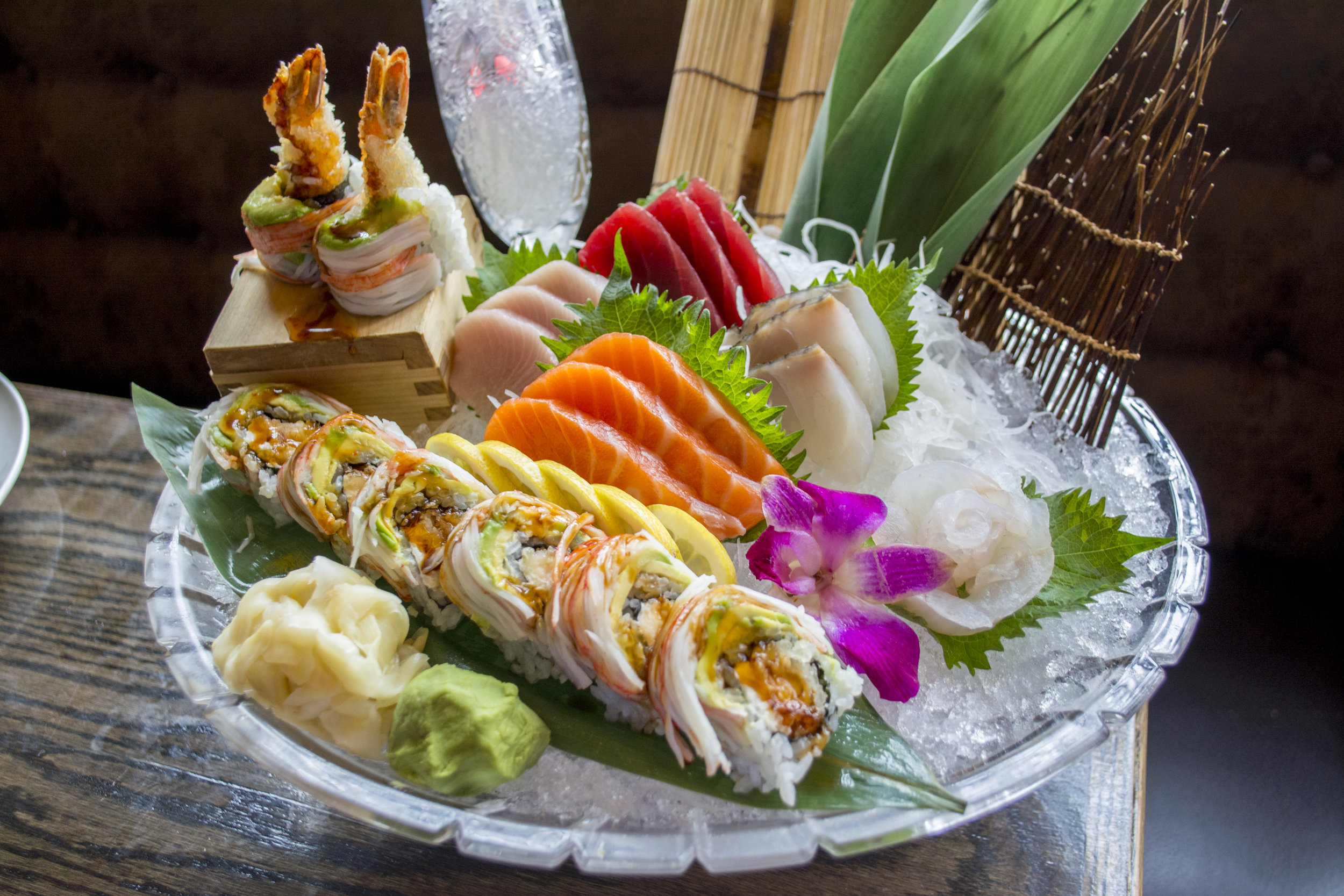 TOA's artfully plated Sushi and Sashimi Combo ($30), which includes five pieces of sushi, 10 pieces sashimi and shrimp tempura roll.
