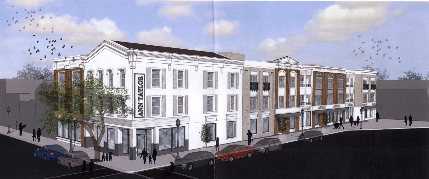 A rendering depicts 263 Main St., Huntington where a developer wants to create 36 apartments in proposed second- and third-floor additions.   (Rendering/Joseph J. Scarpulla Architect
