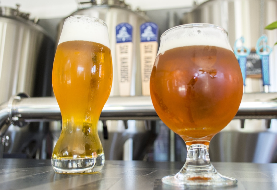 Two of the brewery's offerings, the Young Professionals Ale and Huntington Harbor Hoppy.   (Long Islander News photos/Andrew Wroblewski)