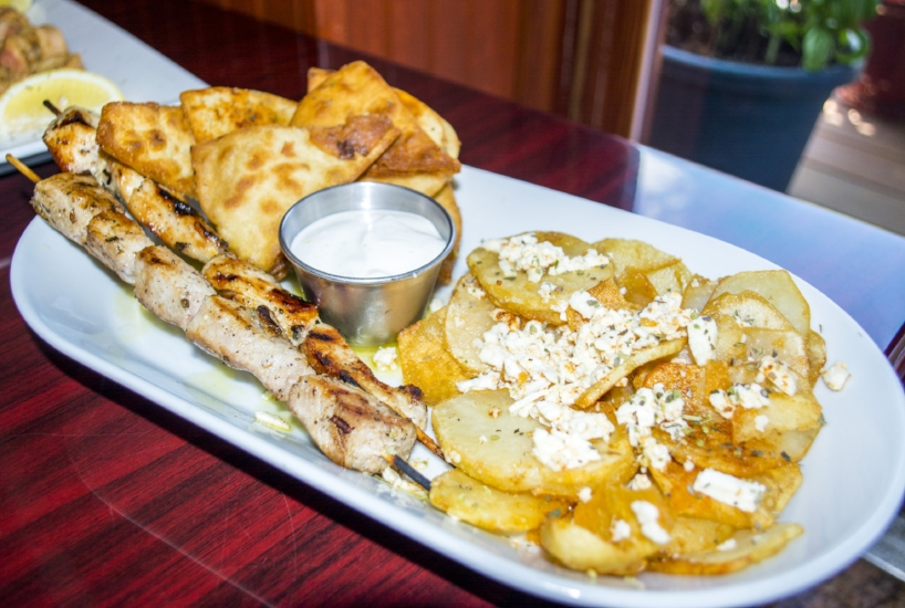 Our Foodies sampled several favorites, including Lamb Souvlaki ($19.95), Chicken Souvlaki ($16.25), Greek Fried Potatoes ($7) served with feta cheese and oregano and Fried Pita.
