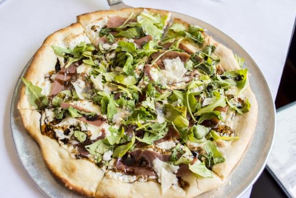 Arugula Pizzetta ($15) features fresh mozzarella, prosciutto and a balsamic reduction.   (Long Islander News photos/Connor Beach)