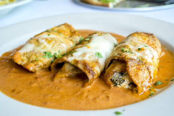 Eggplant Rollatini features eggplant, sundried tomato, spinach, mascarpone and pink champagne sauce, is an option on Eatalia's $10.99 weekly lunch menu.