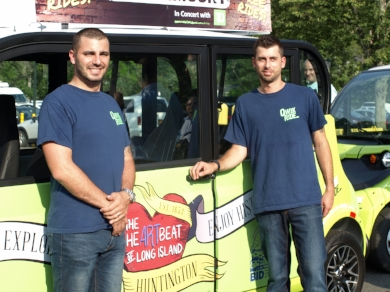 John Yancigy and Dan Cantelmo launched Qwik Ride in Huntington offering free rides to the public and village employees.    Long Islander photo/Peter Sloggatt