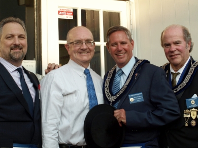 Many members attended the historic marker's unveiling. From left are Chairman of Trustees Ron Seifried, Town Historian Robert Hughes, Worshipful Master Richard Harris, and Senior Warden Artie Myers.   Long Islander photo/Sophia Ricco