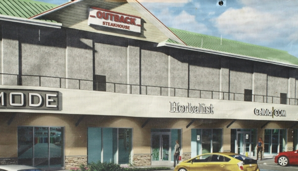 A rendering on display at the Big H shopping center in Huntington shows plans to construct new retail stores behind the former Outback location in Huntington, but the iconic steakhouse won't be a part of it.