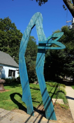 John Scarola's breaching whale sculpture at the Cold Spring Harbor Whaling Museum.