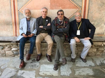George Wallace, right, met with international poets, Guiseppe Napolitano, Italy; Shaip Emerllahu, Macedonia and Tozan Alkan, Turkey while in Bulgaria. This month he's off to Greece to receive an award and connect with more poets.