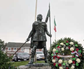 The Italian flag will fly above the Christopher Columbus Statue at Lawrence Hill Road and Main Street in Huntington village during Italian-American Heritage Month.  Photo/Town of Huntington
