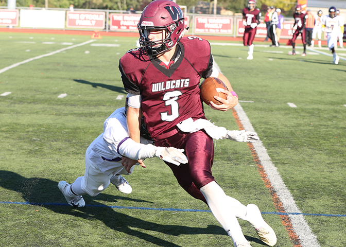 Quarterback Quinn O'Hara ran for 120 yards and two touchdowns. He completed 15 of 25 passes for 195 yards and a touchdown.