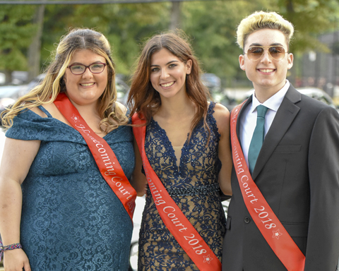 Members of the Half Hollow Hills High School West homecoming court are all smiles during homecoming.