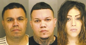 Adrian Bonilla, Neftali Camacho Hernandez and Jennifer Perez Cordero, face drug trafficking charges following a raid in Huntington Station.  Photos/Suffolk County DA's Office
