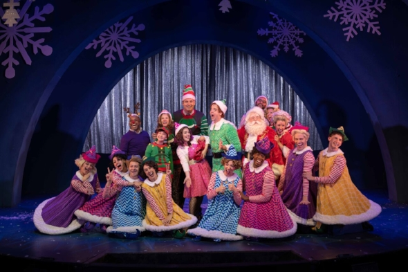 Buddy and his fellow elves perform a musical number in the John Engeman Theater's production of Elf: The Musical.  Photo by Michael DeCristofaro