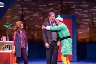 Actors Christianne Tisdale (Emily Hobbs), Joe Gately (Walter Hobbs) and Erik Gratton (Buddy the Elf) share a bonding moment.  Photo by Michael DeCristofaro