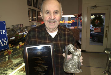 Owner, Peter Panarites gets his love for chocolate making from his father who used this bunny mold to make his famous Easter chocolate. Peter won Confectioner of the Year in 1988.  Long Islander News photos/Sophia Ricco