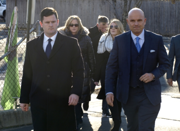 Brian Finnegan, Huntington Supervisor Chad Lupinacci's former chief of staff, left and his attorney Arthur Aidala make their way to a press conference in front of third district court in Huntington Station Tuesday.
