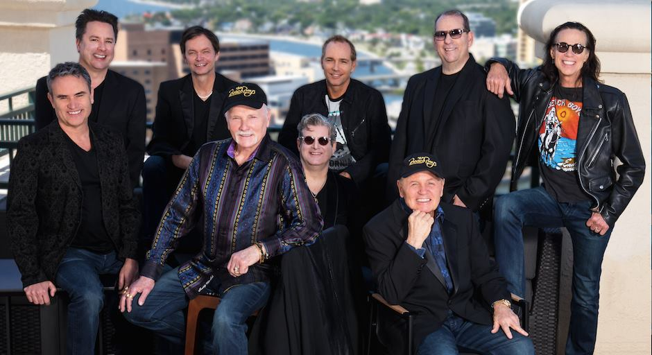 Original Beach Boys member Mike Love, seated second from left, and Bruce Johnston, seated right, headline a holiday show of classics from The Beach Boys at The Paramount.
