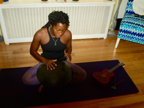 Soul Kollective owner Natasha Poindexter bring live music into her Cold Spring Harbor yoga studio.  Long Islander News photo/Sophia Ricco