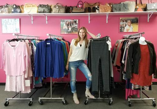 Amanda Munz sells discount designer samples online and from a showroom on Route 110 in Farmingdale to raise funds for an educational foundation.