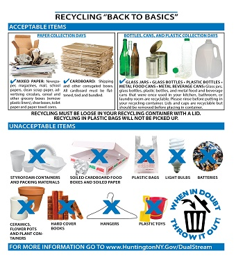 A Town-issued handout gives a guide to what can and can't be put out for recycling.