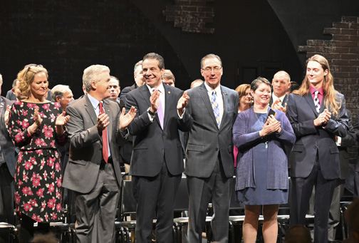 State Senator Jim Gaughran, third from right, celebrates his official swearing in ceremony at the John W. Engeman Theater in Northport with Democratic politicians, from left, Nassau County Executive Laura Curran, Suffolk County Executive Steve Bellone and Governor Andrew Cuomo, as well as his wife Carol and son Michael.  Photos/Office of Governor Andrew Cuomo