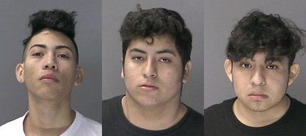Three alleged MS 13 gang members arrested after a 16-year-old Huntington High School student was stabbed at the Big H shopping center in Huntington, entered the country illegally, according to the Suffolk DA. Police charged, from left, Nobeli Montes Zuniga, Oscar Canales Molina and Ramon Arevalo Lopez with second-degree assault.   Photos/SCPD