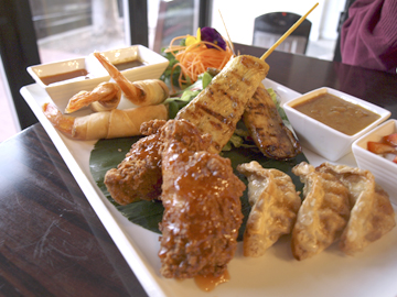 Ra-Cha Combo appetizer ($16.95) gives everyone at the table a taste.