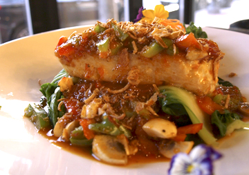 Chilean Sea Bass ($29) mixes sweet, spicy and sour together with bok choy and sweet chili sauce.