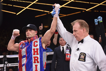 Chris Algieri celebrates his victory by unanimous decision against Danny Gonzalez under the lights at Madison Square Garden on Jan. 19.
