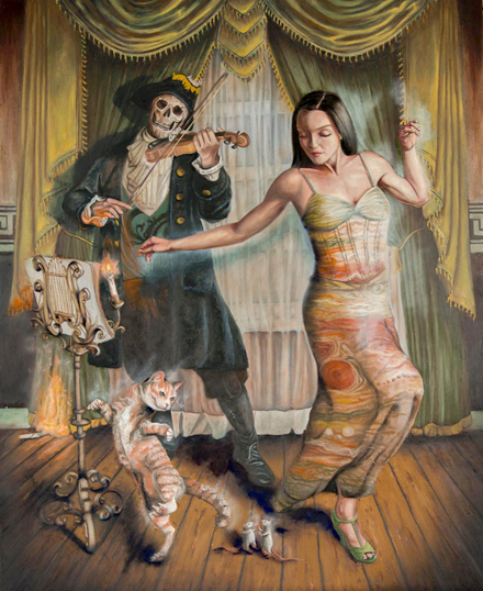 "Northport artist Joseph Weinreb artistic adaption of ""Don't Fear the Reaper"" by Blue Oyster Cult is featured in the exhibit, Music Box IV."