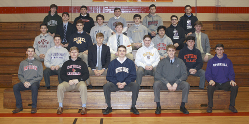 Students in the Chaminade High School Class of 2019 made commitments to play sports at colleges across the U.S. Notably from Huntington, second row third in, Aidan Larkin of Huntington and fourth row third in, Luke Roberts of Greenlawn.