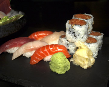 Sushi for One ($29)… spicy salmon roll and sushi selection.