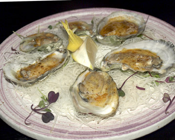 Blue Point Oysters with Cajun Sauce ($11/six)    al fresh and herbal flavor.
