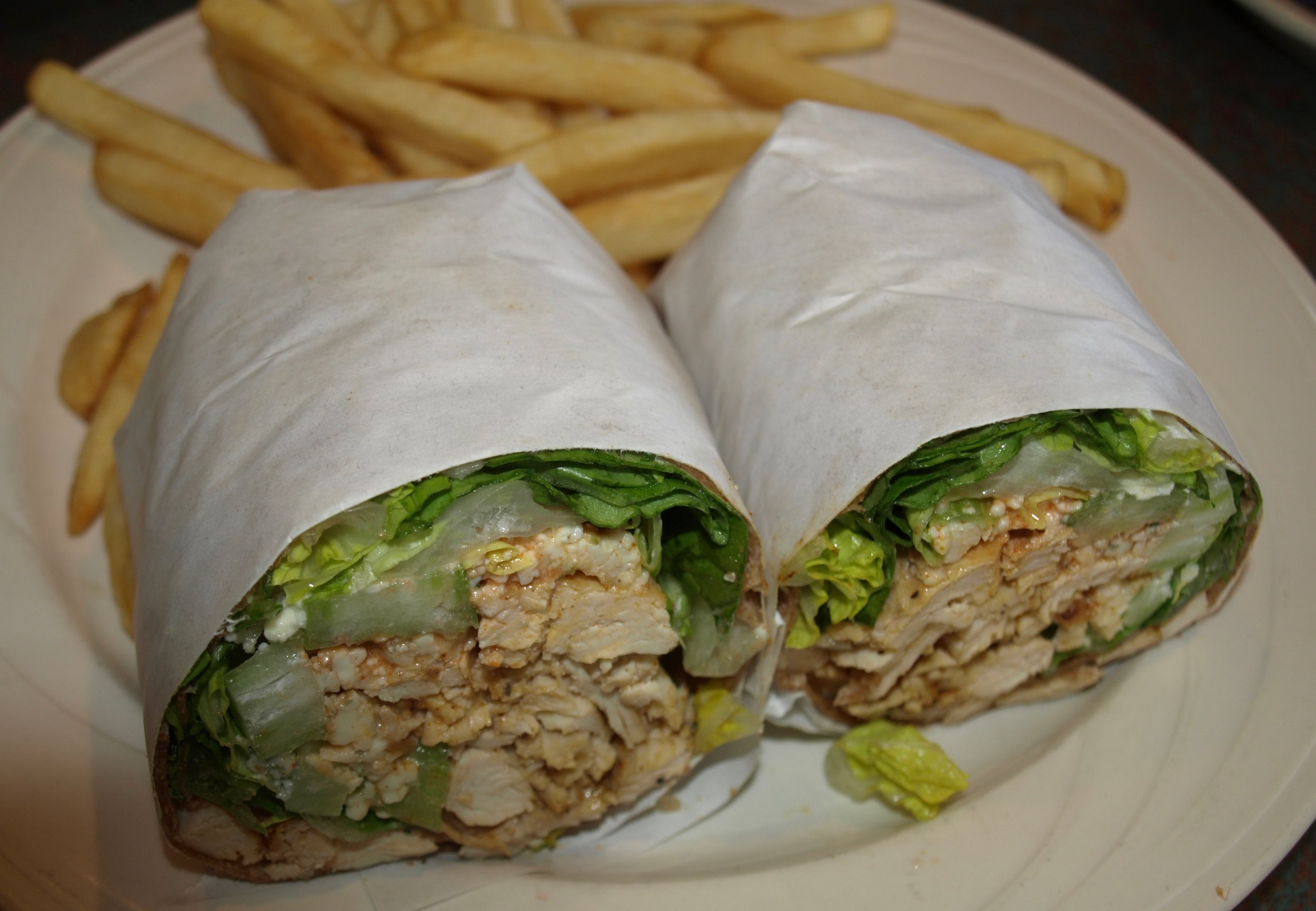 Buffalo Chicken Wrap marries spicy chicken and bleu cheese dressing.