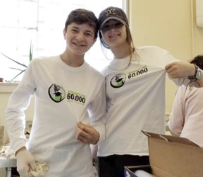 Students Liv Caufield and Tim DeTolla helped at the Mana Meal Soup Kitchen in West Virginia.