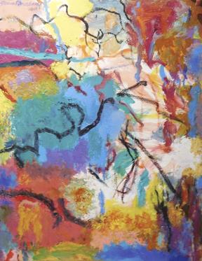 """One of Brodsky's expressionist landscapes, """"Blue Burst.""""  Photo/Lawrence Fine Art"""