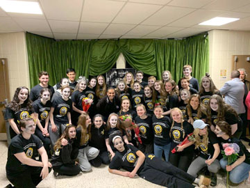 "The cast of ""The Addams Family"" at St. Anthony's High School were delighted to meet and perform for a member of royal family of the United Arab Emirates on Saturday, March 23."