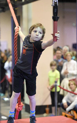 James H. Boyd fifth-grader David Futeran competed on the American Ninja Warrior Junior TV show reaching the semifinals of the tough competition.  Photo/Elwood Schools