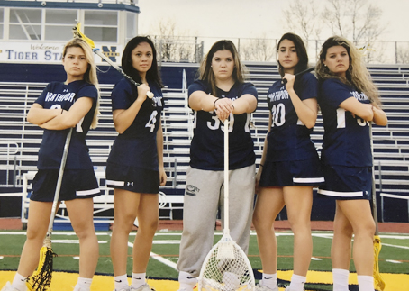 Senior captains Chloe Hoschel, Sophia Craco, Claire Morris, Olivia Carner and Isabella Hubbard have led the team to a 13-1 record so far.  Photo courtesy Carol Rose